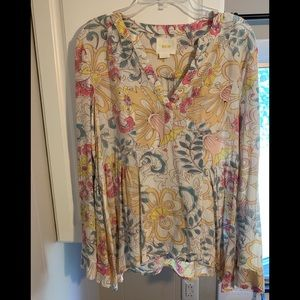 Anthropologie Maeve floral pleated blouse